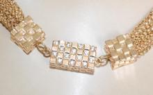 COLLANA ORO donna girocollo dorato collier multi fili catena strass collier elegante N46