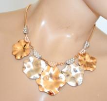 COLLANA ORO donna girocollo perle ciondoli martellati argento dorati collier elegante N22