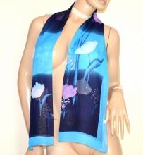 FOULARD donna BLU AZZURRO 40% seta sciarpetta fantasia stola velata coprispalle G38