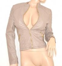 GIUBBINO BEIGE FANGO giacca donna eco pelle sexy giacchino zip oro black jacket N20