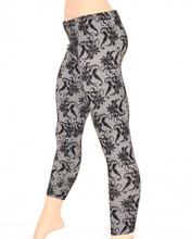 LEGGINGS NERO GRIGIO donna pantacollant pantalone fantasia fuseaux ricamato Z1