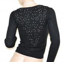 MAGLIA NERA cardigan donna maglietta aperta sottogiacca maglioncino pizzo ricamo strass A21