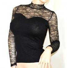 MAGLIA NERA donna pizzo ricamata maglietta sottogiacca manica lunga lupetto A43