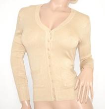 MAGLIETTA BEIGE donna CARDIGAN bottoni maglia sottogiacca maniche lunghe maglione R5