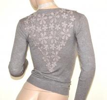 MAGLIETTA BEIGE TORTORA cardigan donna maglia aperta sottogiacca pizzo ricamata strass A21