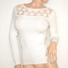 MAGLIETTA BIANCA donna manica lunga sottogiacca maglia ricamata girocollo F60