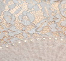 MAGLIETTA  donna BEIGE TORTORA collo alto maglione manica lunga elegante sottogiacca ricamata pullover pizzo strass Z55