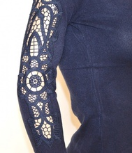 MAGLIETTA donna BLU cardigan elegante maglia manica lunga ricamata sexy sottogiacca cerimonia H20