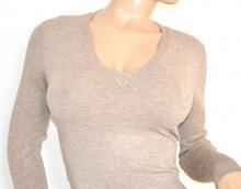 MAGLIETTA donna maglione maglia BEIGE sottogiacca maniche lunghe tinta unita 95