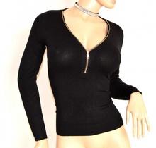 MAGLIETTA donna NERA maglia manica lunga sottogiacca scollatura V zip oro F95