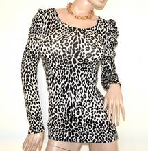 MAGLIETTA MAXI PULL donna BIANCA NERA maglia maglione manica lunga maculata leopardata sexy oblò A33