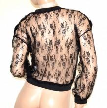 MAGLIETTA NERA donna maglia tulle ricamata manica lunga velata elegante party B5