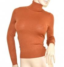 MAGLIONE COLLO ALTO MARRONE donna sottogiacca maglia manica lunga dolcevita G4