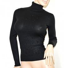 MAGLIONE COLLO ALTO NERO donna maglietta strass dolcevita maglia sottogiacca manica lunga A39