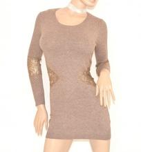 MAGLIONE donna BEIGE TORTORA lungo MAXI PULL elegante maglietta manica lunga ricamata PIZZO STRASS sexy zip Z3