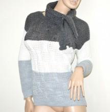 MAGLIONE grigio bianco argento + sciarpa donna maglia girocollo golfino made Italy G58