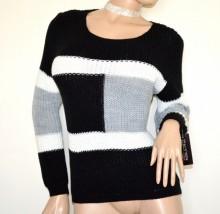 MAGLIONE lana donna nero grigio bianco golfino girocollo manica lunga lana maglia made in italy G64