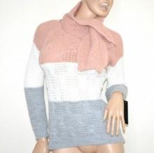 MAGLIONE rosa bianco grigio + sciarpa donna golfino manica lunga made italy G58