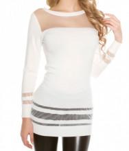 MAXI PULL BIANCO donna maglietta maglione manica lunga velata maglia girocollo sottogiacca AZ3
