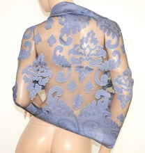 MAXI STOLA BLU NERO donna seta elegante coprispalle velato abito da sera maxi foulard da cerimonia Z4