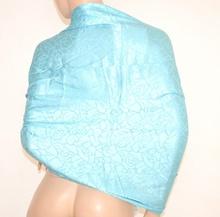 MAXI STOLA donna AZZURRA CELESTE foulard 100% SETA coprispalle da cerimonia elegante scialle abito da sera E10