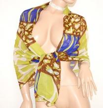 MAXI STOLA donna VERDE BLU BIANCO MARRONE foulard elegante coprispalle seta velata da cerimonia S6