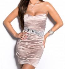 MINI ABITO BEIGE donna vestito tubino decolte strass cristalli elegante cerimonia dress A9