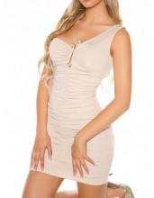 MINI ABITO BEIGE donna vestito tubino monospalla giromanica decoltè serpente elegante AZ38