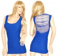 MINI ABITO donna vestito tubino microfibra blu estivo miniabito sexy fili schiena nuda aderente 51