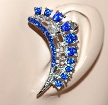 MONO ORECCHINO argento blu donna ragazza strass cristalli brillantini idea regalo F223