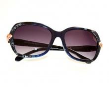 OCCHIALI da SOLE donna BLU ORO lenti ovali brillantini sunglasses lunettes E60