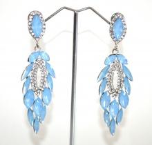 ORECCHINI a CLIPS donna argento pendenti gocce cristalli turchesi strass trasparenti cerimonia A48