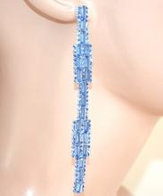 ORECCHINI argento azzurro celeste pendenti ldonna cristalli strass  cerimonia L10