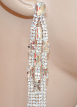 ORECCHINI ARGENTO donna fili pendenti strass cristalli multifili sposa cerimonia N22