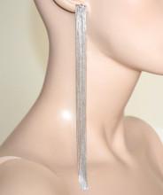 ORECCHINI ARGENTO donna multi fili pendenti extra-lunghi sexy eleganti pendientes BB66