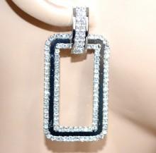 ORECCHINI ARGENTO donna pendenti rettangolari strass cristalli metallo BB20