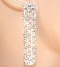 ORECCHINI ARGENTO  donna STRASS cristalli pendenti eleganti sposa cerimonia E120