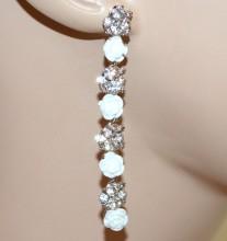 ORECCHINI BIANCHI donna argento pendenti lunghi strass fiori rose eleganti sposa BB2