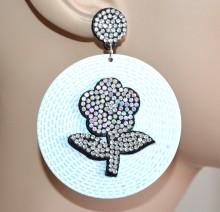 ORECCHINI BIANCHI donna cerchi pendenti strass ragazza fiore brillantini CC4