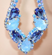 ORECCHINI BLU AZZURRI CELESTI strass cristalli donna argento pendenti eleganti BB56