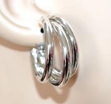 ORECCHINI cerchi argento donna pendenti lucidi semi aperti eleganti earring BB49