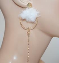 ORECCHINI cerchi oro dorato donna pon pon bianco filo pendente strass pendientes CC128