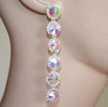 ORECCHINI CRISTALLI BOREALI donna argento pendenti lunghi strass eleganti pendientes PX3