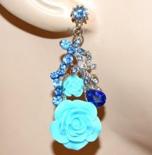 ORECCHINI donna argento azzurri celeste blu pendenti fiori strass cristalli BB6