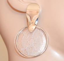ORECCHINI donna argento bianchi cerchi pendenti anelli fantasia earrings Ohrringe GT5