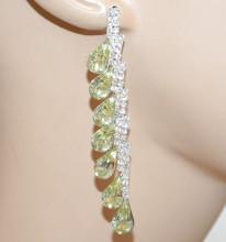 ORECCHINI donna ARGENTO cristalli BEIGE ORO CHAMPAGNE pendenti gocce strass eleganti cerimonia Z10