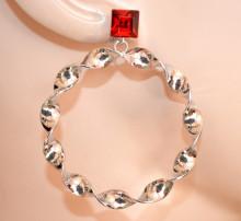 ORECCHINI donna ARGENTO cristallo rosso cerchi pendenti ondulati hoops earrings CC225