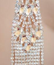 ORECCHINI donna ARGENTO fili pendenti strass cristalli trasparenti gocce sposa N14
