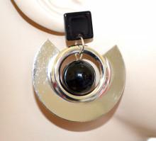 ORECCHINI donna argento nero cerchi pendenti ragazza earrings boucles CC164