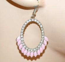 ORECCHINI donna argento pietre rosa cerchi ovali pendenti strass cerimonia CC34